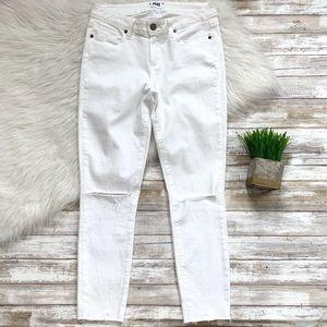 Paige White Opal Verdugo Crop Raw Hem Ripped Jeans